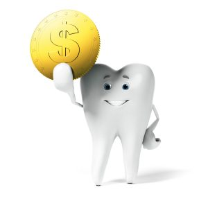 tooth holding coin